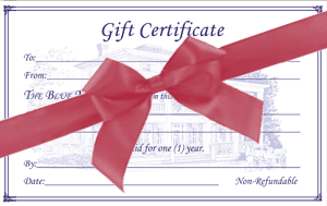 Blue Max B&B in Chesapeake City gift certificates available